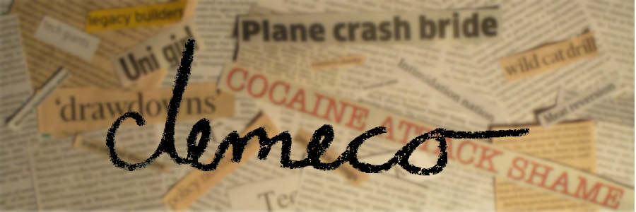 header displaying a collage of newspager cuttings with compounds on them